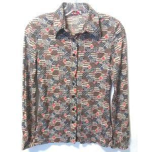 Vintage 70's disco print top blouse
